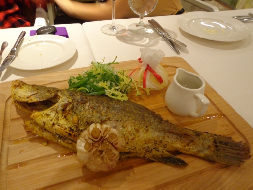 Roasted Deboned Fish of the Day ($52), recommended and good pairing with a red meat