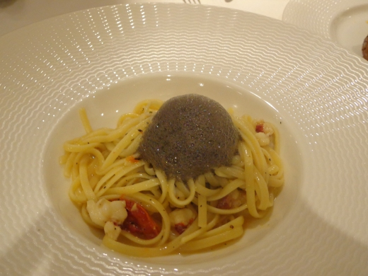 Lobster Linguine ($28), very reasonably priced. The grey bubble-like is actually Squid Ink Espuma.