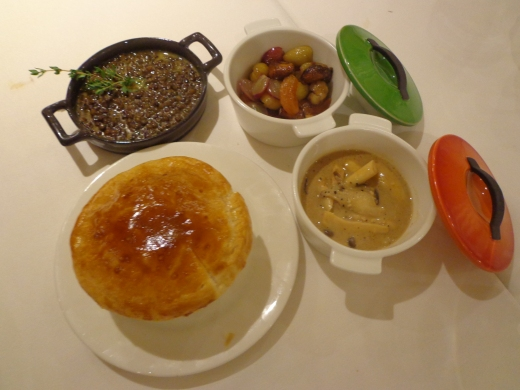 Side dishes (from left clockwise) - Braised Green Lentil du Puy ($8), Sauteed Chestnut & Grapes ($12), Casserole of Mushrooms ($8), and Baked White bean Ragout Pot Pie ($10). Nothing particularly outstanding with the sides.